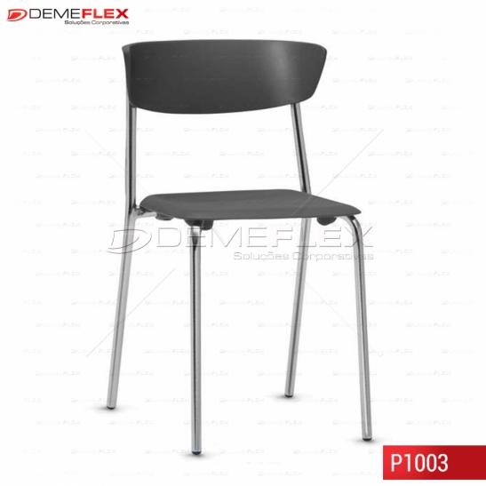 Cadeira Fixa Estrutura Cromada Polipropileno Preto Bit Curitiba Demeflex
