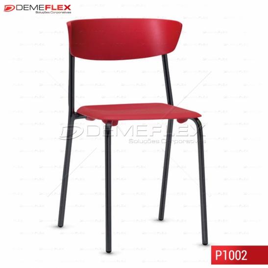 Cadeira Fixa Estrutura Preta Polipropileno Colorido Bit Curitiba Demeflex