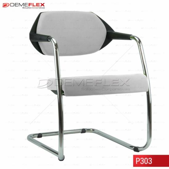 Cadeira Fixa Estrutura Cromada Encosto Preto  Estofado Flex Curitiba Demeflex