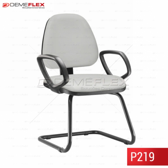 Cadeira Fixa Estrutura Preta Operacional  com Braço Média Sky Curitiba Demeflex