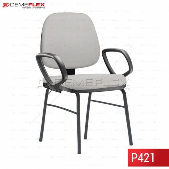 Cadeira Fixa Estrutura Preta com Sapata  Operacional Job com Braço Curitiba Demeflex