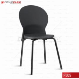 Cadeira Fixa Estrutura Preta Polipropileno Preto Luna Curitiba Demeflex