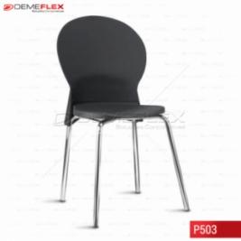 Cadeira Fixa Estrutura Cromada Polipropileno Preto Luna Curitiba Demeflex