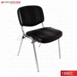 Cadeira Fixa Estofada com Costura Estrutura Cromada Curitiba Demeflex