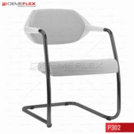 Cadeira Fixa Estrutura Preta Encosto Branco Estofado Flex Curitiba Demeflex