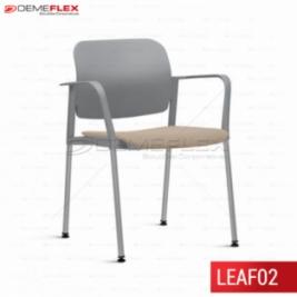 Cadeira Fixa Leaf Cinza Estofada com Estrutura Cinza com Braço Curitiba Demeflex