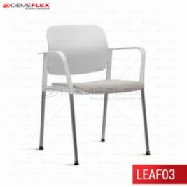 Cadeira Fixa Leaf Branco Estofada com Estrutura Cromada com Braço Curitiba Demeflex