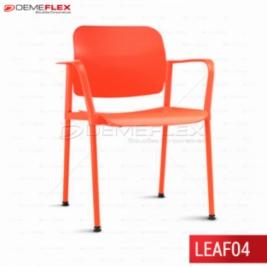 Cadeira Fixa Leaf Colorida com Estrutura Colorida com Braço Curitiba Demeflex