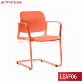 Cadeira Fixa Leaf Colorida com Estrutura Contínua Colorida com Braço Curitiba Demeflex