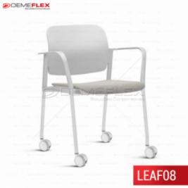 Cadeira Fixa Leaf Cinza Estofada com Estrutura Cinza com Braço com Rodízio Curitiba Demeflex
