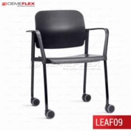 Cadeira Fixa Leaf Preta com Estrutura Preta com Braço com Rodízio Curitiba Demeflex