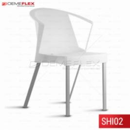 Cadeira Fixa Shine de Polipropileno Empilhável com Braço Curitiba Demeflex