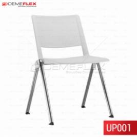 Cadeira Fixa Up em Polipropileno Branco Empilhável com Estrutura Cromada