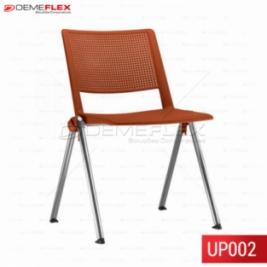 Cadeira Fixa Up em Polipropileno Colorida Empilhável com Estrutura Cromada