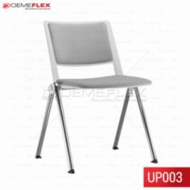 Cadeira Fixa Up Estofada Branca  Empilhável com Estrutura Cromada