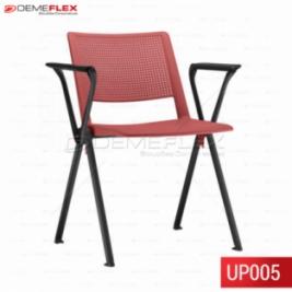 Cadeira Fixa Up em Polipropileno Colorida com Braço com Estrutura Preta