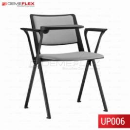Cadeira Fixa Up em Polipropileno Colorida com Braço com Estrutura Preta com Prancheta