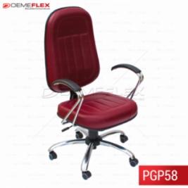 Cadeira Giratória Presidente Cromada com Encosto Alto Várias Cores Curitiba Demeflex