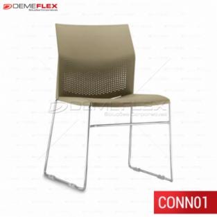 Cadeira Fixa Empilhável com Sapatas Connect Cromada Curitiba Demeflex